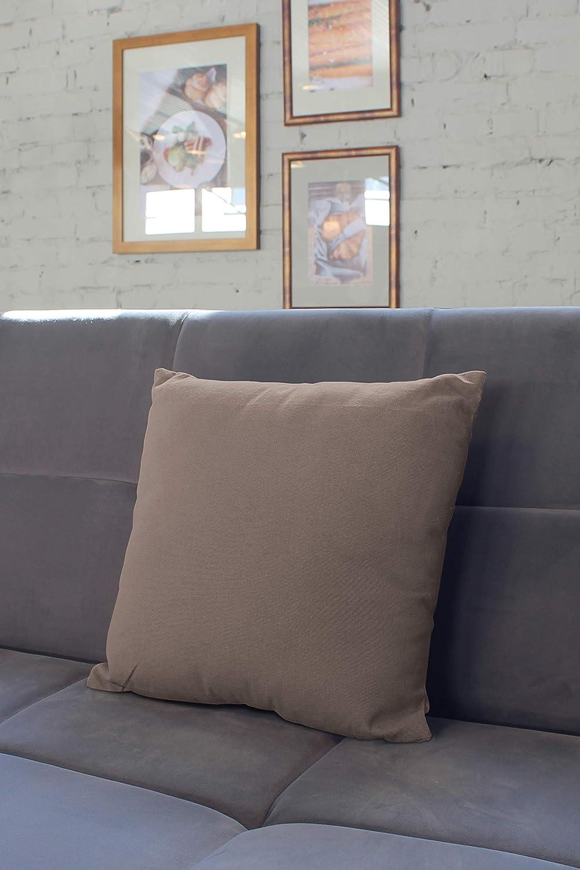 50 x 50 cm - Beige Encasa Homes Housses de Coussin Lot de 2 import/é Doux Coton Toile Teint Rectangulaire Taie Oreillers Color/é Decoratif pour Maison Decor Salon Chambre Canap/é Lavable