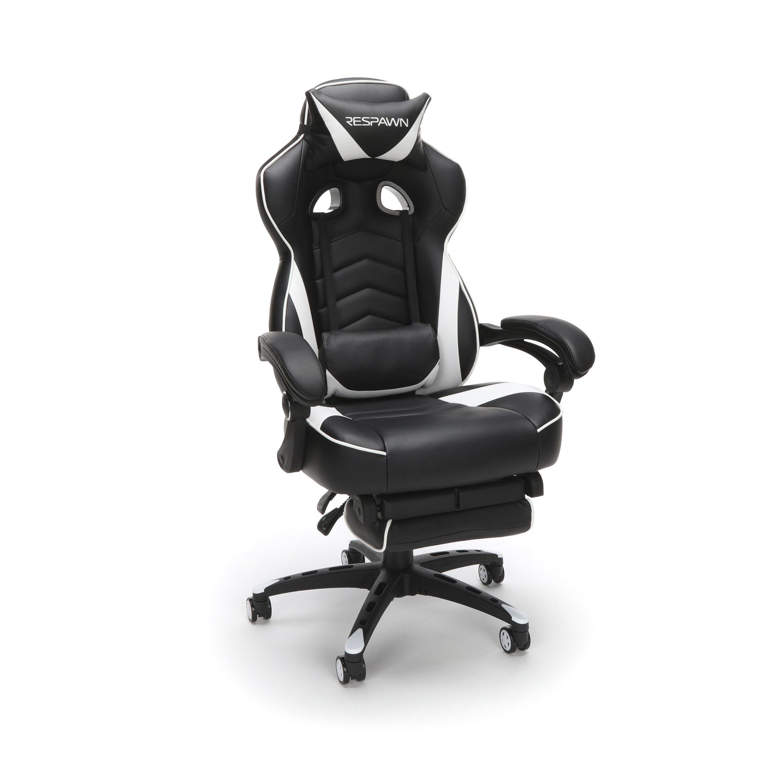 RESPAWN RESPAWN-110 Racing Style Reclining Ergonomic Leather Footrest, Office or Gaming Chair (RSP-110-WHT), White, White by RESPAWN