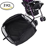 Stroller Bottom Storage Bag, 2PCS Installable Baby Car Buggy Pushchair Basket Shopping Case Organizer with Magic Sticker and Buttons, A Stable Firm Place for Placing Kid's Supplies