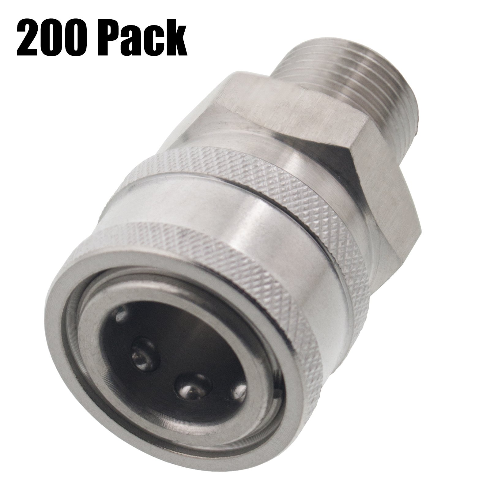 200 Pack of Erie Tools 3/8'' MPT Male Stainless Steel Socket Quick Connect Coupler 5000 PSI 10 GPM for Pressure Washer Nozzle Gun Hose Wand
