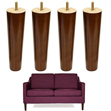 8 Inch Wood Sofa Legs Walnut Finished Furniture Feet Replacement Legs Pack  Of 4 M8 Bolt