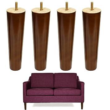 Amazon.com: Madera de 8 inch sofá patas tornillo M8 pies de ...