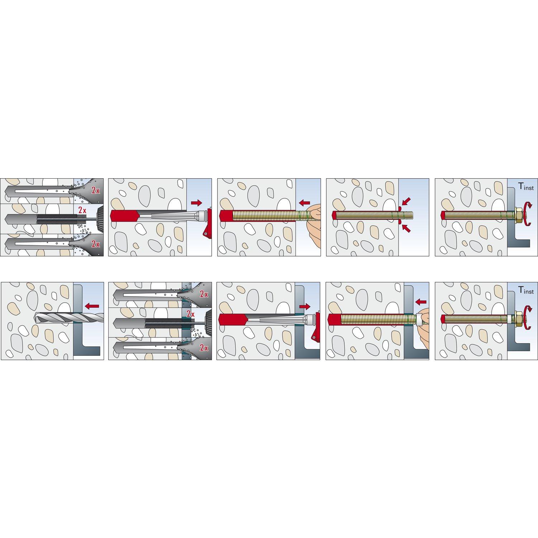 FISCHER 090284 Varilla roscada para anclajes quimicos FIS A M12x160 Envase de 10 ud.