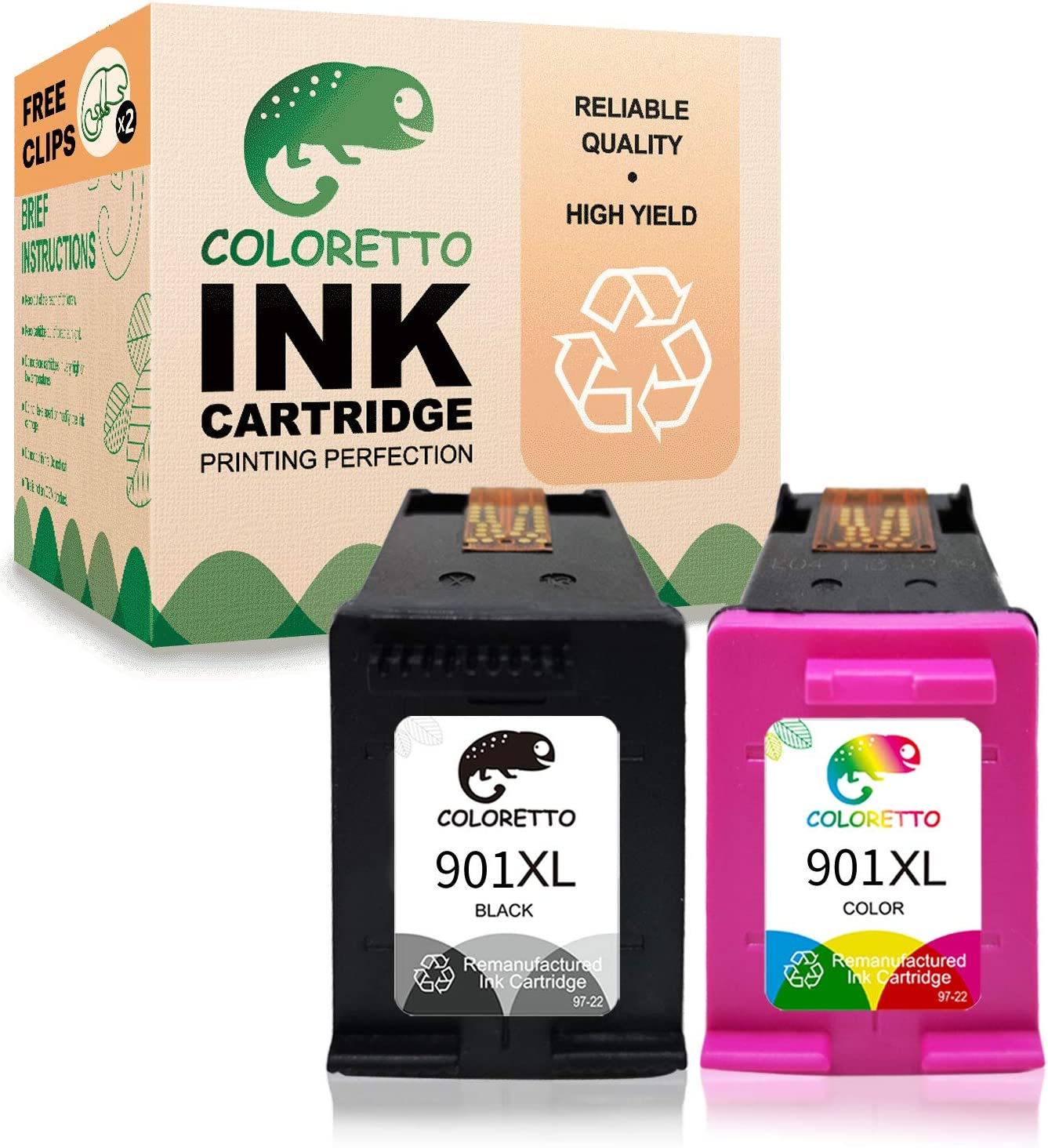 Coloretto Re-Manufactured Printer Ink Cartridge Replacement for HP 901 901XL 901 XL,Ink Level Display for HP Officejet 4500 G510a G510g G510n J4500 J4524 J4624 J4660 J468(1 Black+ 1 Tri-Color)