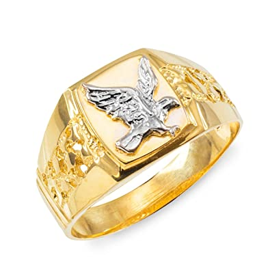 Men\'s Polished 10k Yellow Gold Open Nugget Band American Eagle Ring ...