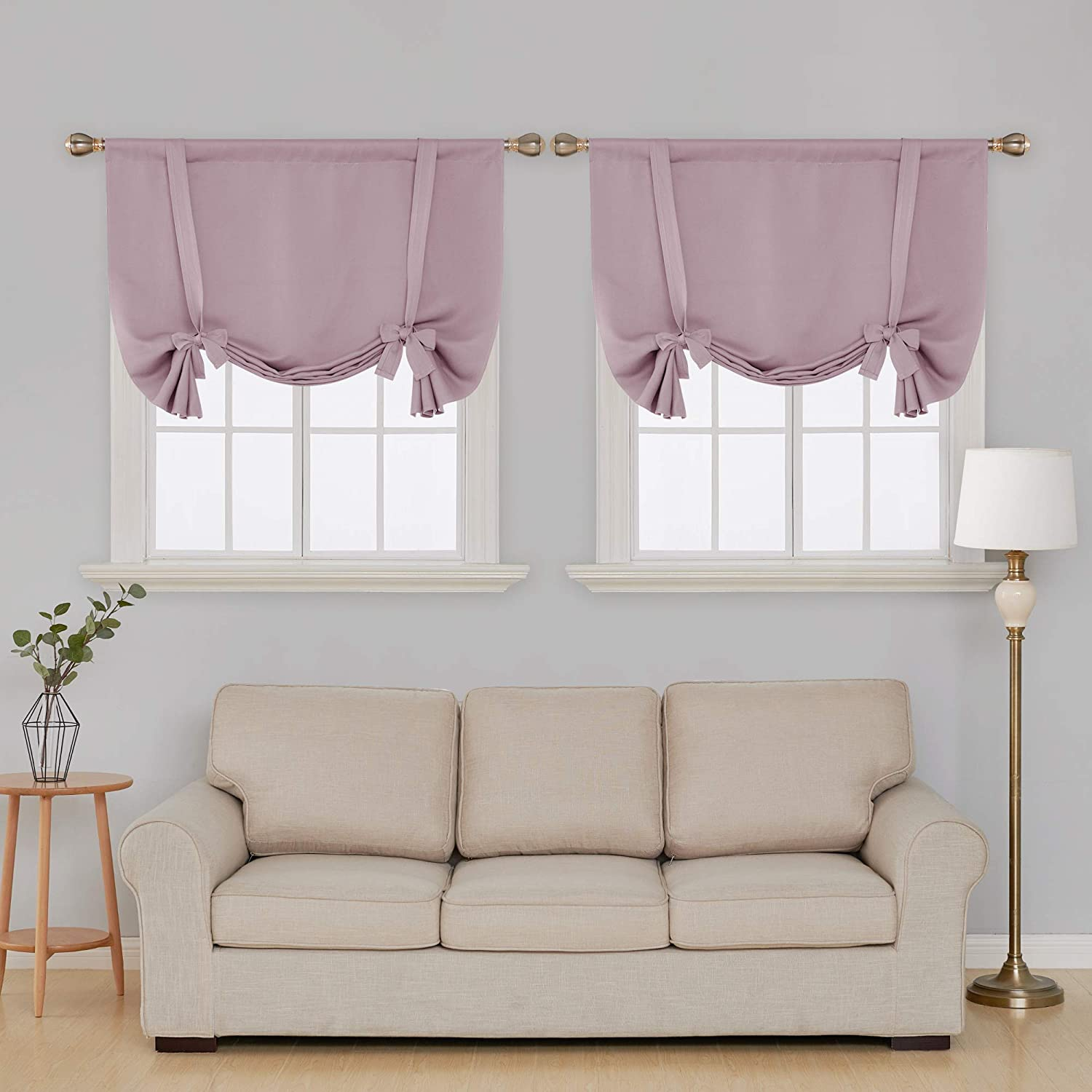Deconovo Pink Blackout Curtains Light Blocking Curtains Tie Up Small Window Curtains for Girls Room Baby Pink 42W x 63L 2 Drapes