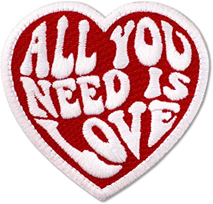All You Need is Love Heart Embroidered iron on sew on PATCH