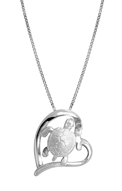 9093aec7b3c6 Amazon.com  Sterling Silver Turtle and Heart Necklace Pendant with ...