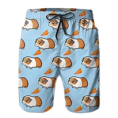 INTERESTPRINT Mens Beach Shorts Drawstring Cute Dog Christmas Quick Dry Swim Trunks XS-6XL