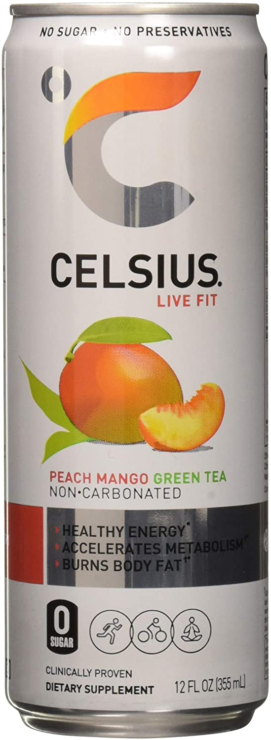 Celsius Celsius - Peach Mango Green Tea, 12 - 12 fl oz (355mL) Cans