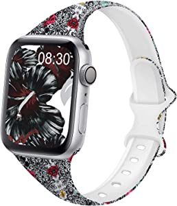 DYKEISS Pattern Printed Slim Silicone Band Compatible for Apple Watch Band 38mm 42mm 40mm 44mm, Fadeless Floral Thin Narrow Replacement Strap for iWatch Series 5/4/3/2/1 (Classic Flower, 38mm/40mm)