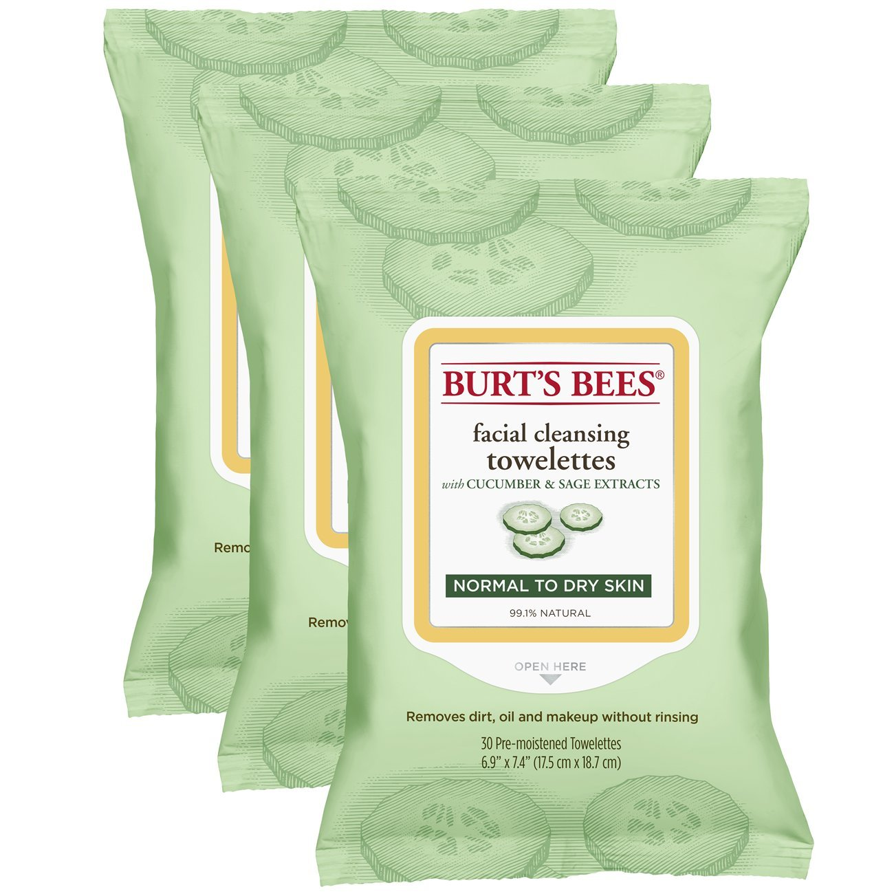 Burt's Bees Sensitive Facial Cleansing Towelettes with White Tea Extract - 30 Count (Pack of 3) Burt' s Bees NA