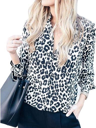 Camisa de Manga Larga con Estampado de Leopardo con Cuello en V Blusa con Cuello en v Top Camisa con Cuello Alto: Amazon.es: Ropa y accesorios