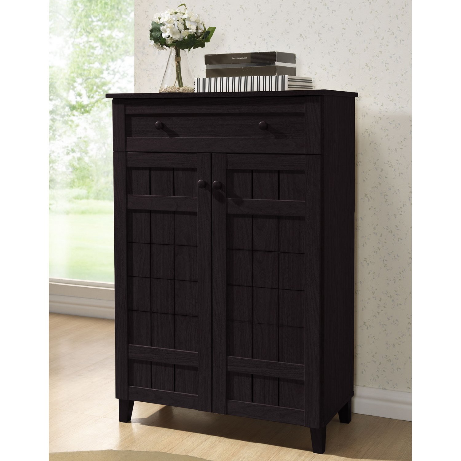 Design Modern Shoe Storage amazon com baxton studio glidden wood modern shoe cabinet tall dark brown kitchen dining