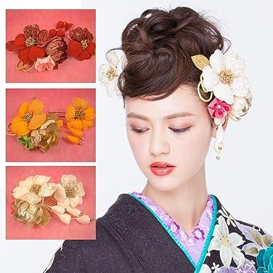d0d3f52798859 Amazon.co.jp: つまみ細工髪飾りレース花 下がり付き オレンジ 成人式 結婚式 卒業式 浴衣  服&ファッション小物