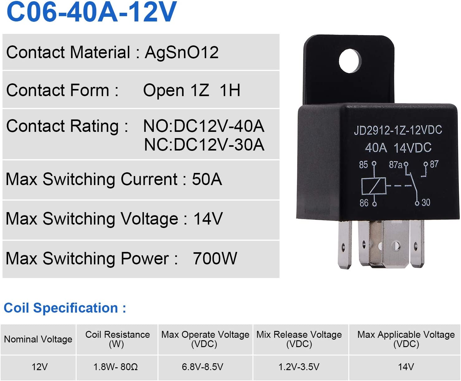 Auto Switches /& Starters Contactor Relay Switch Power Ehdis 12V Motor Relay 5 Pin Coil 40amp Spdt Model No.: JD2912-1Z-12VDC 40A 14VDC 2 Pack
