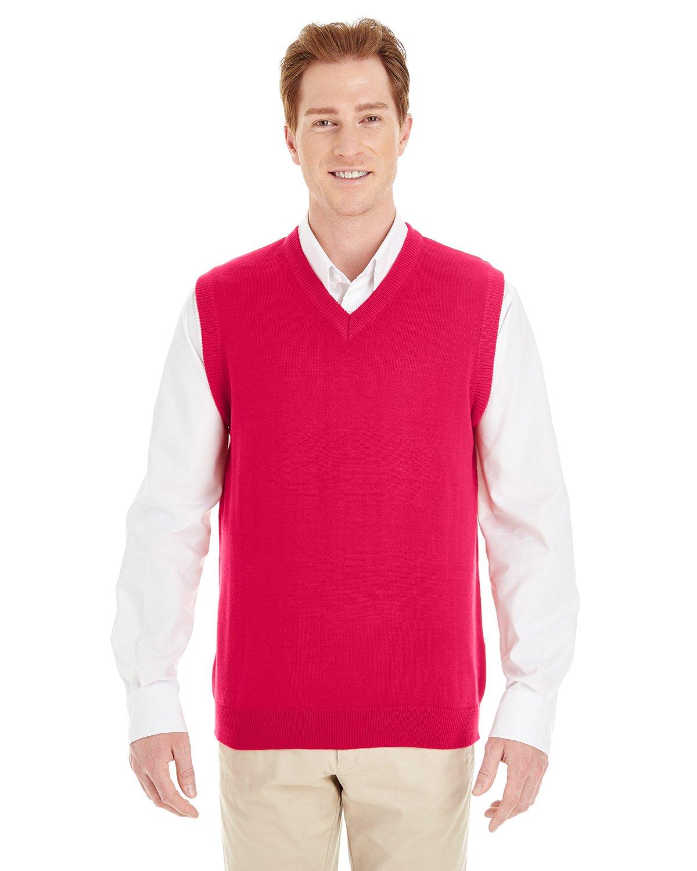 Harriton Men's Knit Neckline Pilbloc V-Neck Sweater Vest M415
