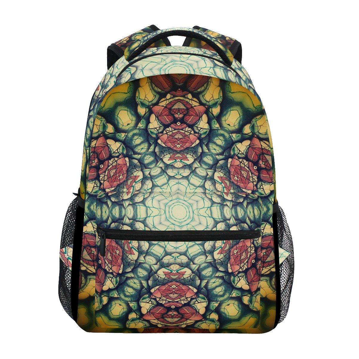 TIZORAX Mandala-yellow-brown-flower-backpack Sac d'école pour randonnée Voyage Sac à dos