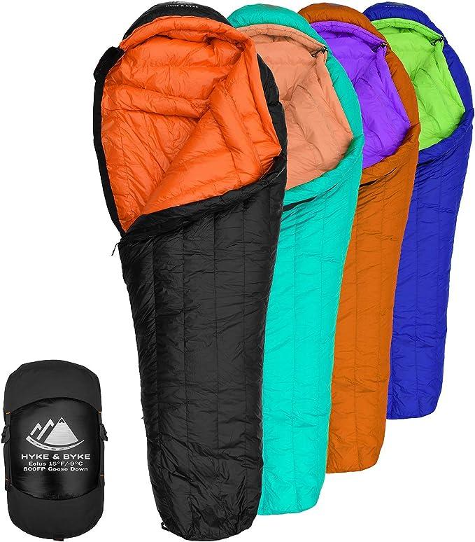 Hyke /& Byke Katahdin 0F 625 Fill Power Hydrophobic Sleeping Bag with Advanced Synthetic Ultra Lightweight 4 Season Men and Women Mummy Bag Designed for Backpacking