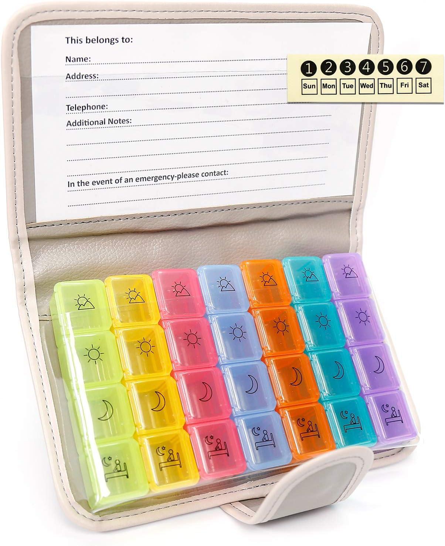 confezione da 2 4 volte promemoria giornaliero per farmaci impilabili Organizer settimanale per pillole un giorno
