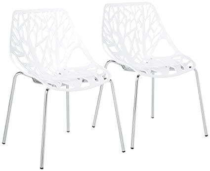 UrbanMod Modern Dining Chairs (Set Of 2) By, White Chairs, KID