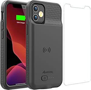 Battery Case for iPhone 12 Mini, 4000mAh Slim Portable Protective Extended Charger Cover with Wireless Charging Compatible with iPhone 12 Mini (5.4 inch) - BX12mini Matte Black
