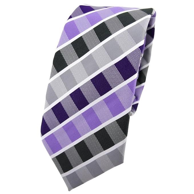 TigerTie - corbata estrecha - morado lila gris antracita blanco ...