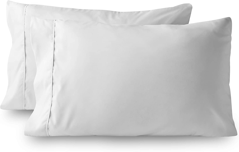 Bare Home Premium 1800 Ultra-Soft Microfiber Pillowcase Set - Double Brushed - Hypoallergenic - Wrinkle Resistant (King Pillowcase Set of 2, White)