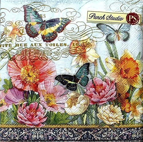 - 95980 Punch Studio 40 Ct Paper Luncheon Napkins, Daffodil Fields Floral Butterfly