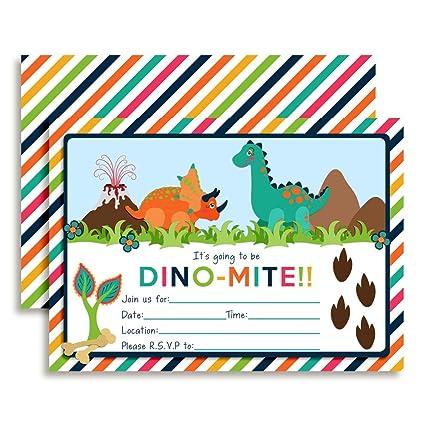 amazon com colorful dinosaur birthday party invitations ten 5 x7
