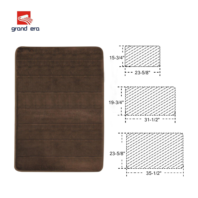 GRAND ERA Incredibly Soft Absorbent Memory Foam Bath Mat, Non-slip Bathroom Rugs, 24'' x 35'', Coffee
