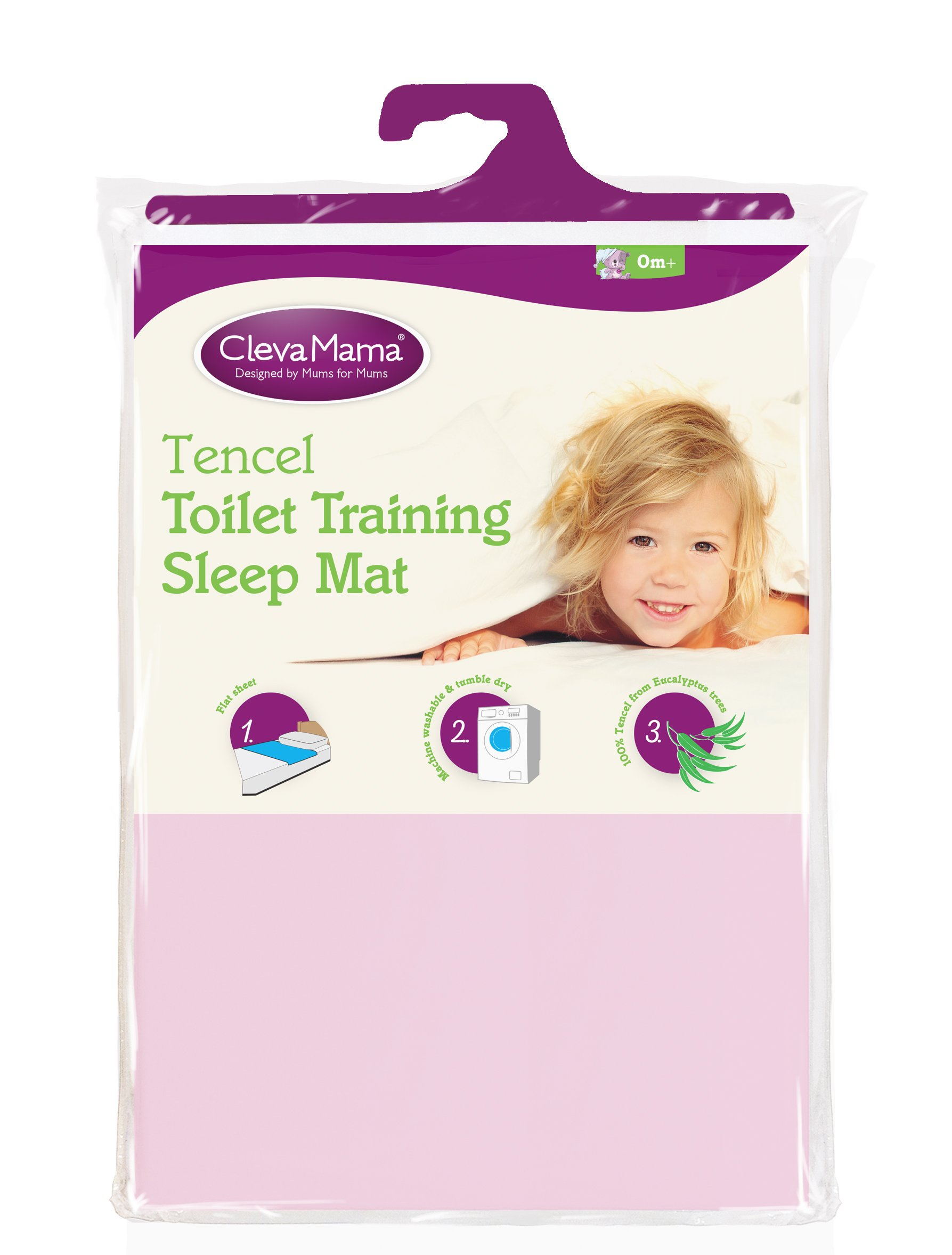 Clevamama - Toilet Training Sleep Mat - Waterproof Bed Protector in Tencel - Pink