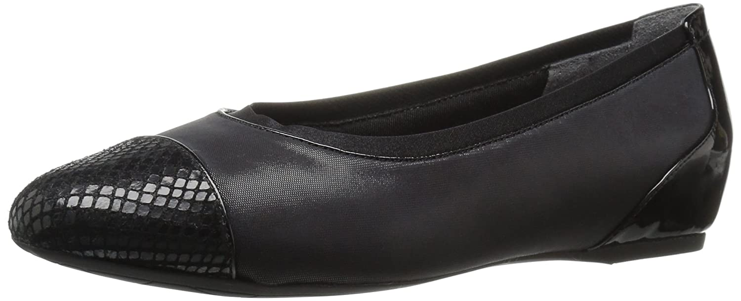 Rockport Women's Total Motion HW20 Gore Captoe Ballet Flat B01ABRW306 7 B(M) US|Black Shiny Leather