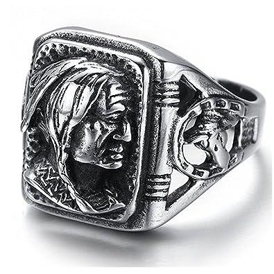 Amazon.com: jajafook Anillo de Vintage clásico de acero ...