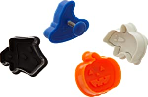 Ateco Halloween Themed Plunger Cutters, Set of 4 Shapes for Cutting Decorations & Direct Embossing, Spring-loaded Handle, Food Safe Plastic