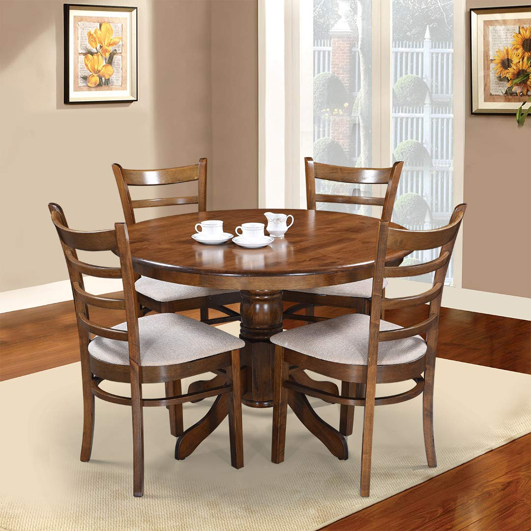 Royaloak Coco Dining Table Set With 4 Chairs Walnut Amazon In Home Kitchen
