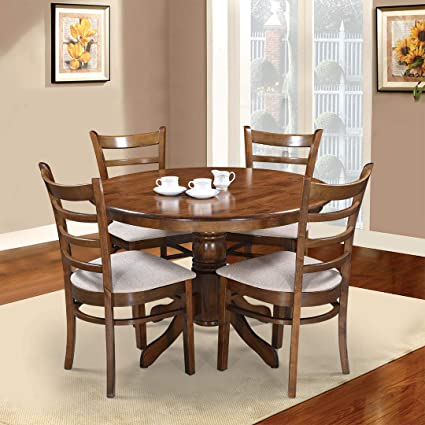 Royaloak Coco Dining Table Set With 4 Chairs Walnut Amazon In