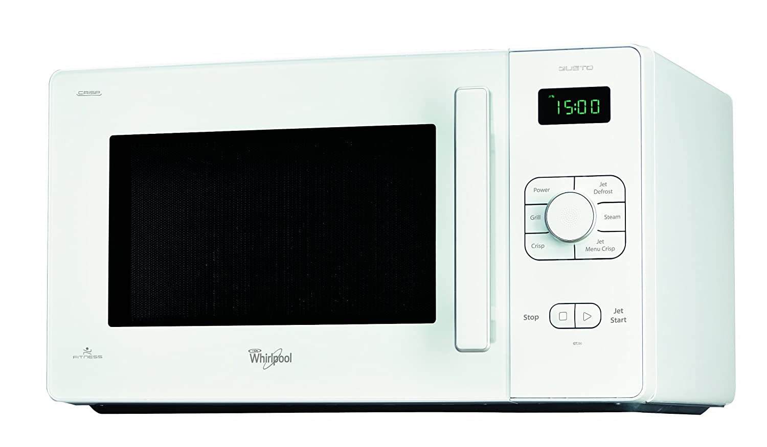 Whirlpool GT 286 WH - Microondas (10 A, 1900 W, 521 mm, 391 mm, 299 mm) , color blanco [Importado de Italia] GT286/WH