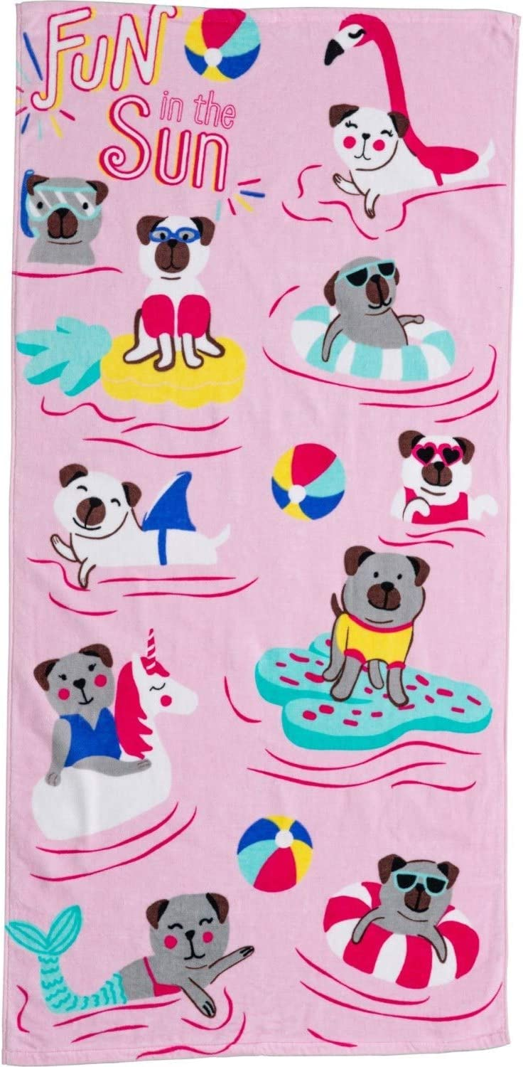 Pool and Home 28 x 58 Water Park Beach Authentic Kids Printed Pink Unicorn Beach Towel 100/% Cotton for Splash Pad