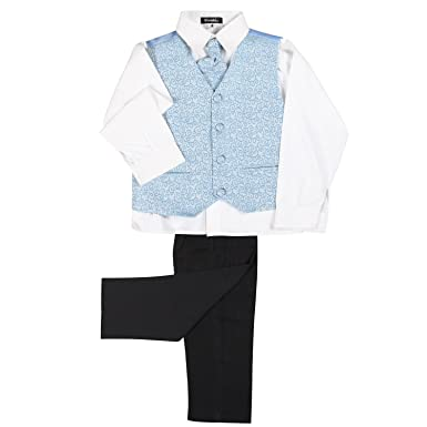 LG New 4 Piece Boys Baby Blue Light Swirl Waistcoat Cream Suit Shirt Tie Black Trousers