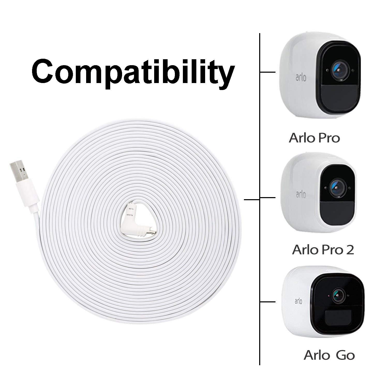caricabatteria resistente alle intemperie con cavo di ricarica 6 m Alimentatore per Arlo Pro e Arlo Pro2,BWORPPY compatibile