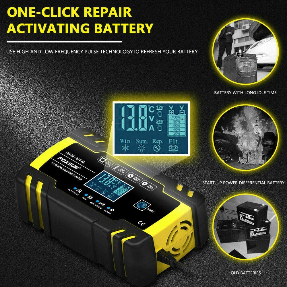 12V 6A Intelligent Fast Charging Portable Rescue /& Recover Batteries Jump Starter for Cars ATVs Motorcycles Boat DXJ Fully Automatic Battery Charger Maintainer