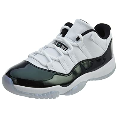 6aa346800375 Jordan Air 11 Retro Low Men s Basketball Shoes White Emerald Rise Black  528895-