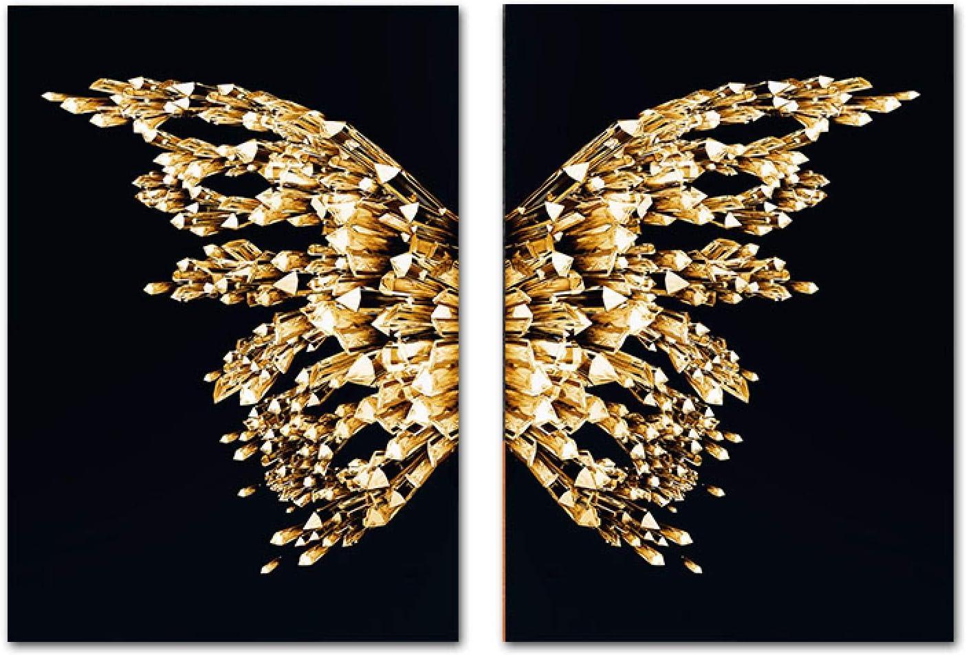 "YQLKC Golden Butterfly Geometric Decor Painting Canvas Minimalist Wall Art Print Modern Fashion Living Room Poster 23.6""x31.4""(60x80cm) x2 Frameless"