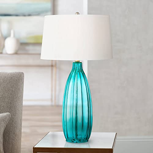Stella Modern Table Lamp Clear Blue Fluted Glass White Drum Shade for Living Room Family Bedroom Bedside Nightstand – 360 Lighting
