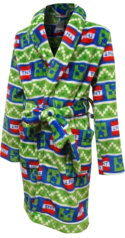 AME Sleepwear Boys Minecraft Creeper TNT Plush Bathrobe Green