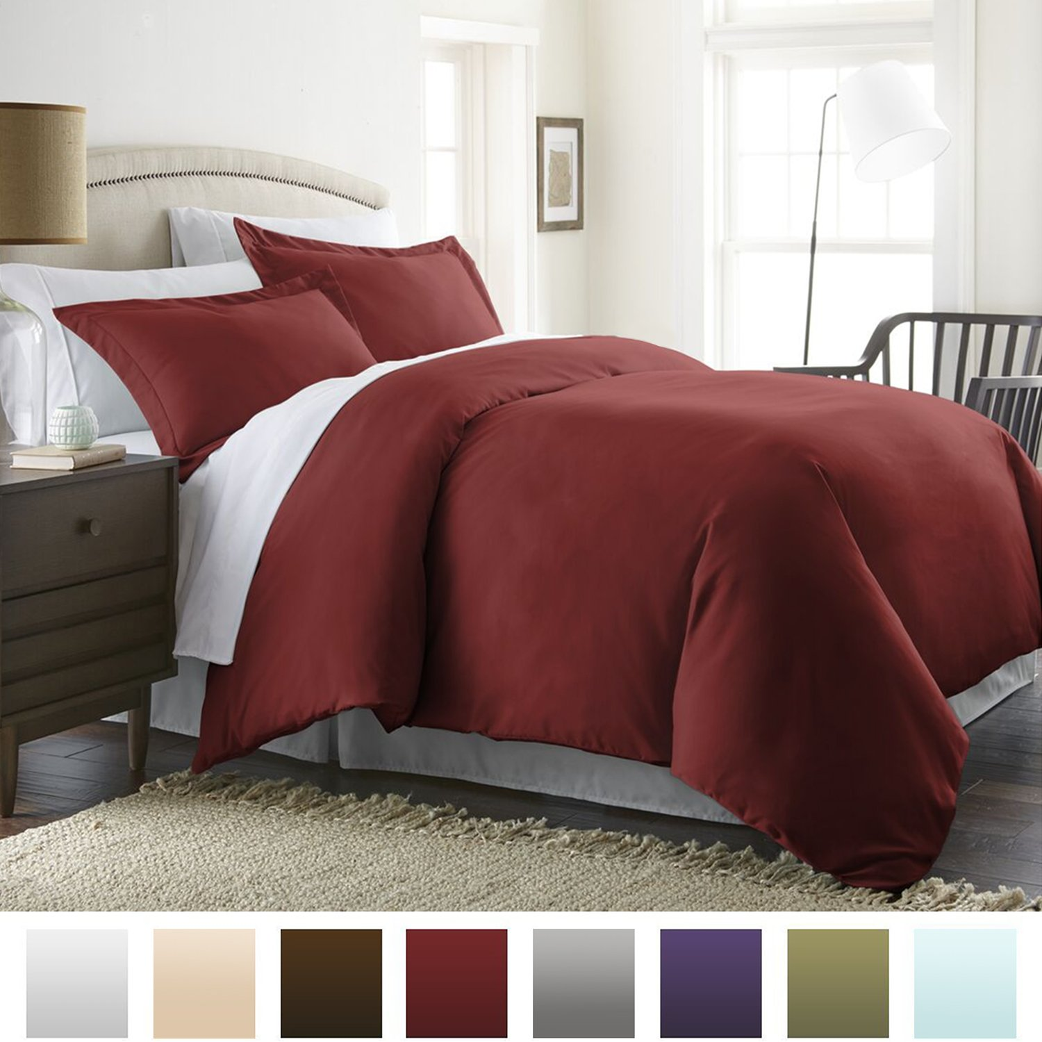 Microfiber Duvet Cover Set - Hypoallergenic - Full/Queen, Burgundy