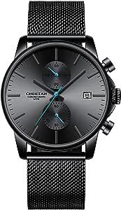 Reloj de Pulsera para Hombre, de Cuarzo, analógico, de Malla Negra, de Acero Inoxidable, Resistente al Agua, cronógrafo, Fecha automática