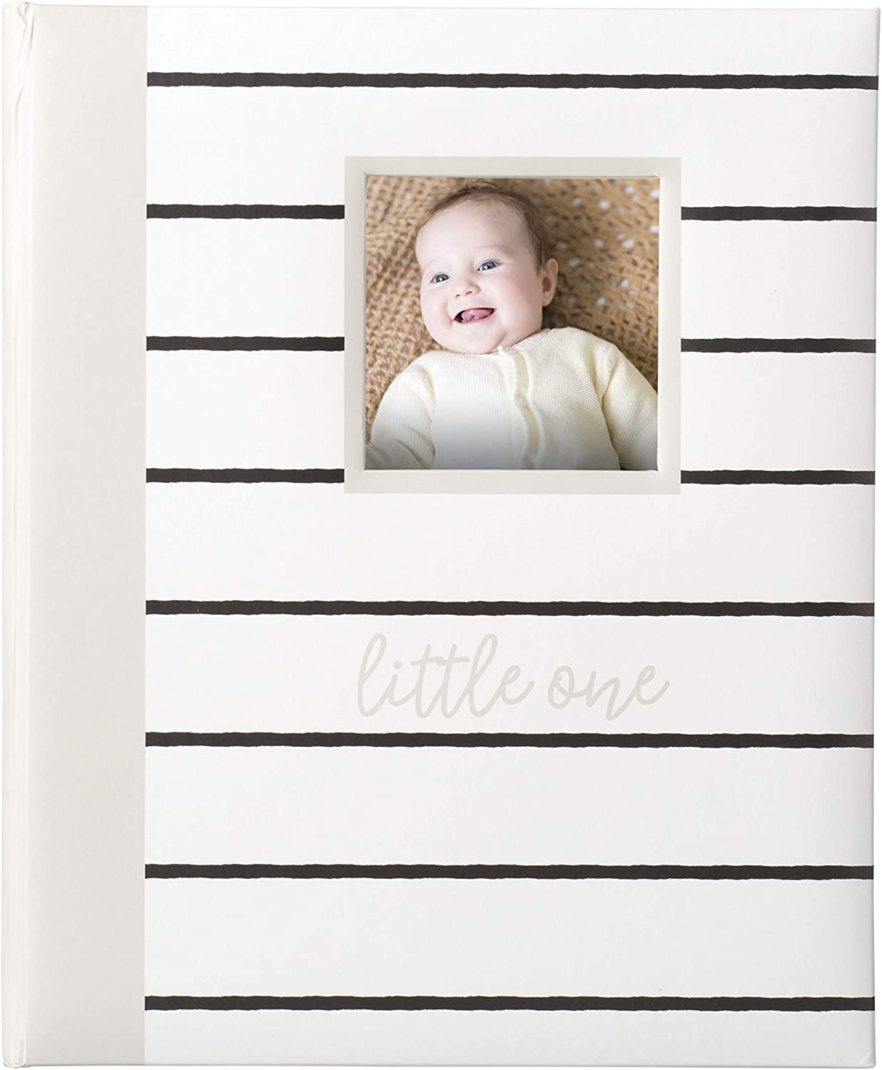 a great Baby Registry Addition for Your New Baby Gray Kate /& Milo Modern Stripe Baby Book Capture and Cherish Every Precious Moment Of Your Babys First Years