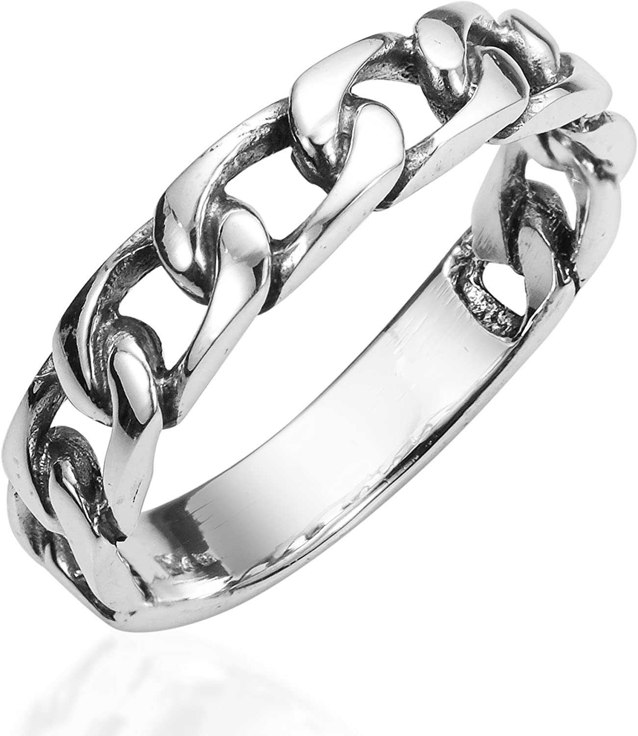 AeraVida Forever Bound Chain Link .925 Sterling Silver Ring